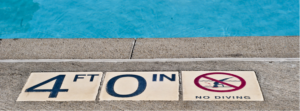 depth marker on swimming pool