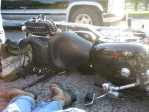 laying down motorcycle