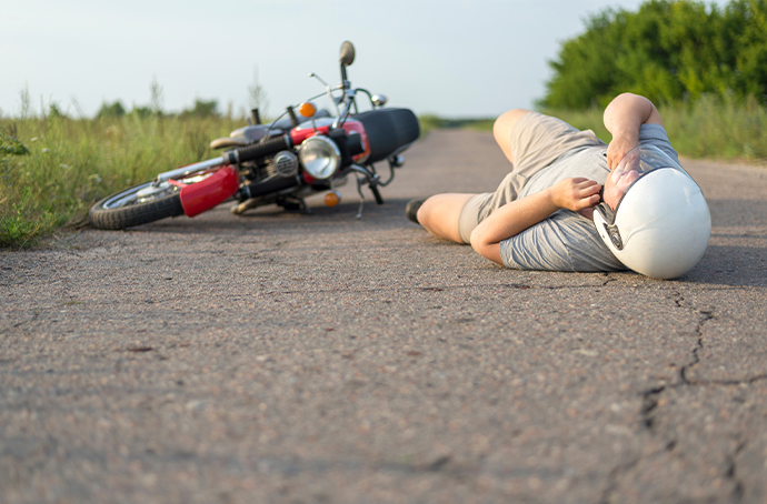 Man injured in a motorcycle accident