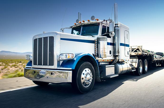 Semi-truck pulling trailer in Georgia